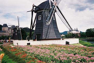 風車とお花畑.JPG